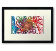 Rainbow Spirals on White Framed Print