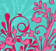 hot pink turquoise abstract girly floral digital art by wasootch