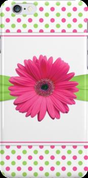 gerbera daisy flower hot pink green polka dot ribbon by wasootch