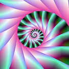 Pink and Green Spiral Steps by Objowl