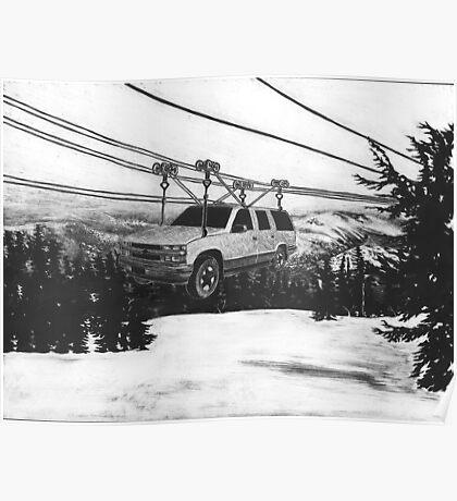 SUV Ski Lift Poster