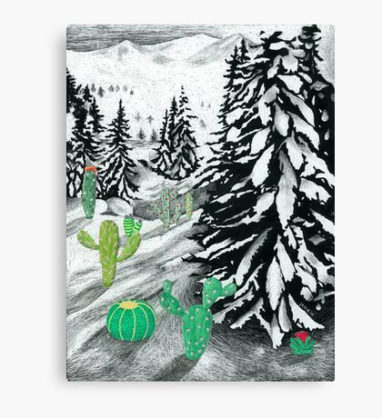 Cactus Winter Wonderland Canvas Print
