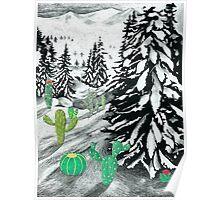 Cactus Winter Wonderland Poster