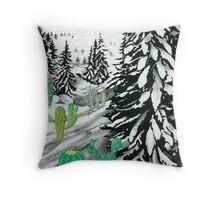 Cactus Winter Wonderland Throw Pillow
