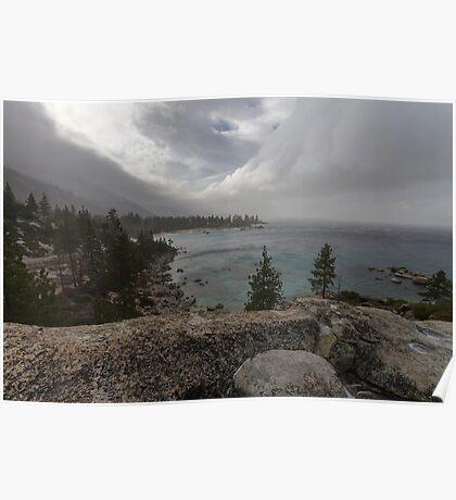The Storm Arrives - Sand Harbor Poster