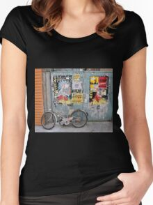Granville, France 2012 - Motorised Bicycle Parked Women's Fitted Scoop T-Shirt