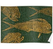 Mahi Mahi on Black w/ Gold Thread Unryu Paper Poster