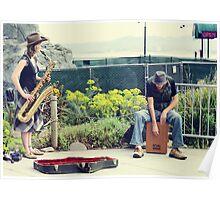 Street sax beat Poster