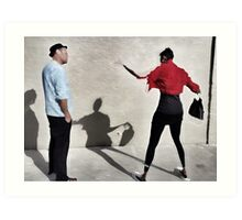 Dialog against the wall Art Print