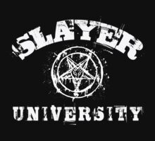 SLAYER UNIVERSITY VINTAGE T-SHIRT - WHITE DESIGN by Endlessgrief