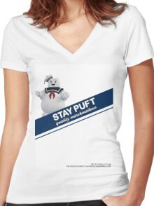 Stay Puft Marshmallow  Women's Fitted V-Neck T-Shirt