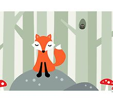 Cute fox sitting on a rock in the woods, card by MheaDesign