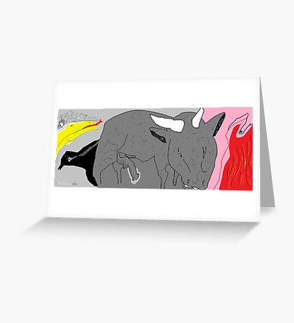 Social Commentary: Bullfighting -(150214)- Digital artwork/MS Paint Greeting Card