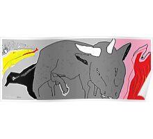 Social Commentary: Bullfighting -(150214)- Digital artwork/MS Paint Poster
