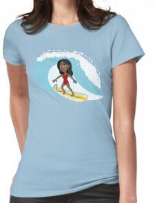 Surfer girl cartoon Womens Fitted T-Shirt