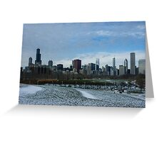 Wintry Windy City Skyline - Chicago, Illinois, USA Greeting Card