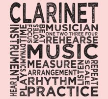 Clarinet Typography Kids Clothes