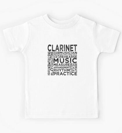 Clarinet Typography Kids Tee