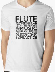 Flute Typography Mens V-Neck T-Shirt