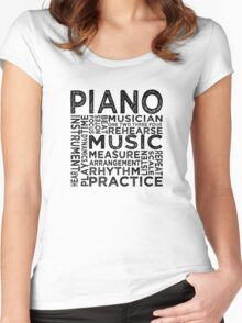 Piano Typography Women's Fitted Scoop T-Shirt