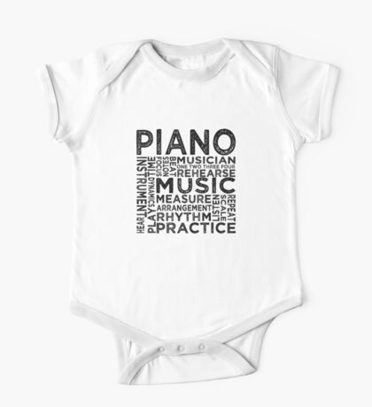Piano Typography One Piece - Short Sleeve
