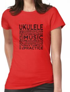 Ukulele Typography Womens Fitted T-Shirt