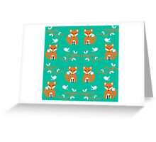 Cute Woodland Creatures Orange Fox Birds and Trees Pattern Greeting Card