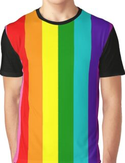 Vertical Old School Rainbow Flag Graphic T-Shirt