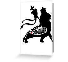 LION CONQUER WHITE Greeting Card