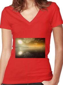 Woolacombe Beach in orange  Women's Fitted V-Neck T-Shirt