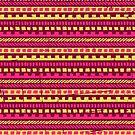 Vibrant Pink and Yellow Aztec Pattern  by Iveta Angelova