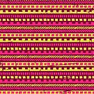 Vibrant Pink and Yellow Aztec Pattern  by Iveta Angelova