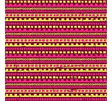 Vibrant Pink and Yellow Aztec Pattern  Photographic Print