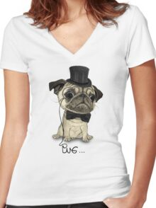 Pug; Gentle Pug (v3) Women's Fitted V-Neck T-Shirt