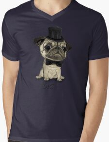 Pug; Gentle Pug (v3) Mens V-Neck T-Shirt