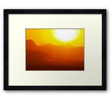 sunset wadi rum desert in Jordan Framed Print
