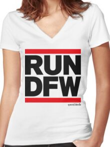 Run Dallas-Ft. Worth DFW (v1) Women's Fitted V-Neck T-Shirt