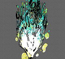 Blue Green Splat Fox by AlliSunArt