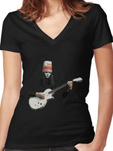 Buckethead Women's Fitted V-Neck T-Shirt