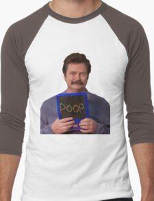 Ron Swanson - Poop Men's Baseball ¾ T-Shirt