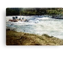 Running the White Horse Rapids in a scow. Canvas Print