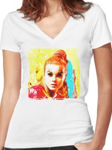 Psychedelic Red Head Women's Fitted V-Neck T-Shirt