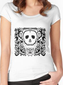 skull stencil Women's Fitted Scoop T-Shirt