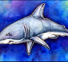 Itty Bitty Octopus and a Great White Shark by embiearts