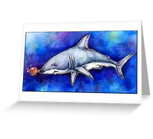 Itty Bitty Octopus and a Great White Shark Greeting Card