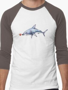 Itty Bitty Octopus and a Great White Shark Men's Baseball ¾ T-Shirt