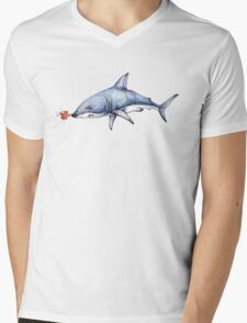 Itty Bitty Octopus and a Great White Shark Mens V-Neck T-Shirt