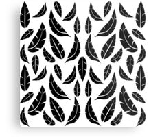 Black on White Modern Masculine Graphic Feather Pattern Metal Print