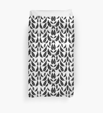 Black on White Modern Masculine Graphic Feather Pattern Duvet Cover
