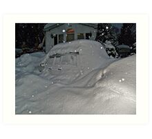I Believe There Is A Vehicle Under That Snow Drift Art Print